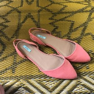 Pink Canvas D'Orsay Pointed Slingback Flats Shoes